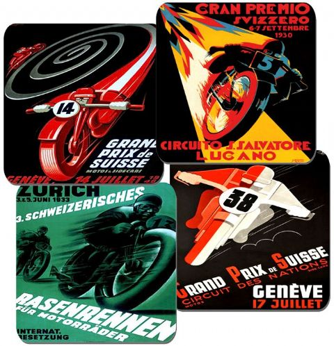 Moto GP Vintage Poster Coasters Set Of 4. Swiss Art Deco Motorbike Motorcycle